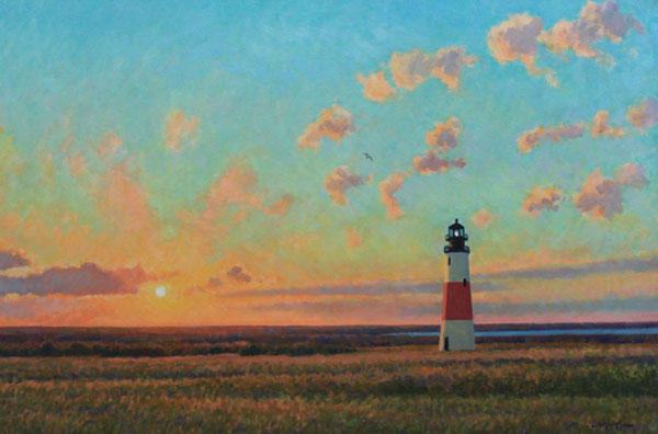 """Sankaty Head Lighthouse at Sunset "" <br />24x36"" oil - available - #1301 <br /> on Nantucket Island"