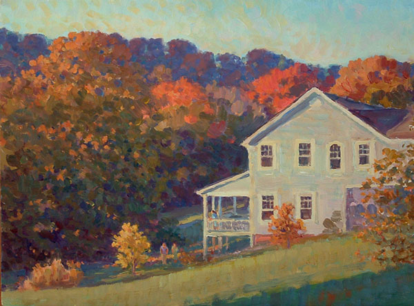 Autumn in North Garden <br /> 9x12 oil <br /> A view from my front porch with neighbor's house.