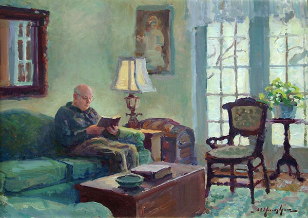 """The Empty Chair"" <br /> 12x16 oil <br /> A dear friend sat for this interior in his home, with his Bible and more time than he had in prior days."