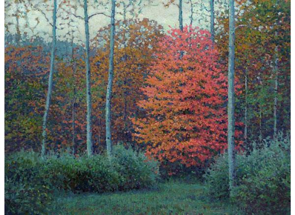 """Maple Warmth in November"" <br /> 18x24 oil <br /> Central Virginia"
