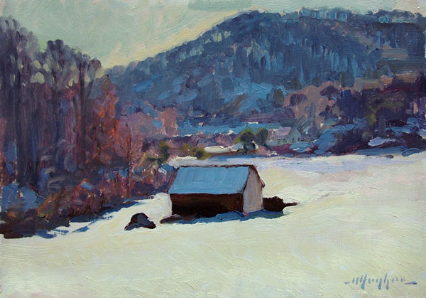 North Garden study in winter.  <br /> 9x12 oil on panel