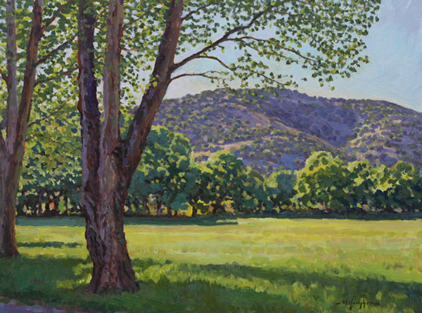 """Cottonwoods at Sunrise"" <br /> 12x16"" oil - available - #1421<br /> A lovely locale in the Hondo Valley of New Mexico."