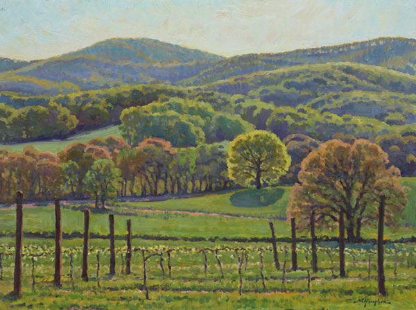 """Spring View from Pippen Hill Farm"" <br /> 12x16"" oil - available - #1506 <br /> North Garden, Virginia"