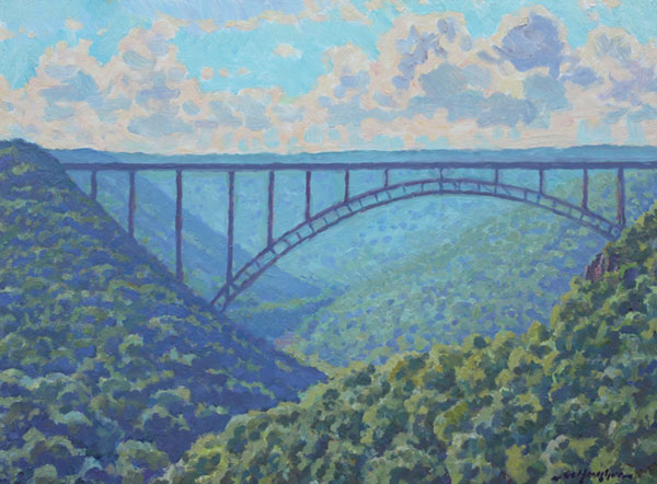 """The New River Gorge - Summer Study"" <br /> 12x16"" oil -available - #1417 <br /> This view looking south also depicts the famous bridge."