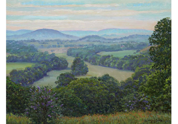 """Shenandoah Vista"" <br /> 12x16 oil on panel - sold -  #1503 <br /> An eastward view near Staunton, Virginia on an early summer morning."