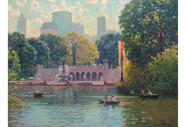 Looking South on a fine day on a Central Park Lake, NYC  <br /> 30x40 oil on canvas