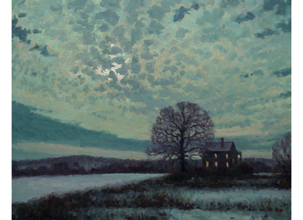 """Veiled Moon"" <br /> 24x30"" oil <br /> Winter night-scape, Central Virginia"