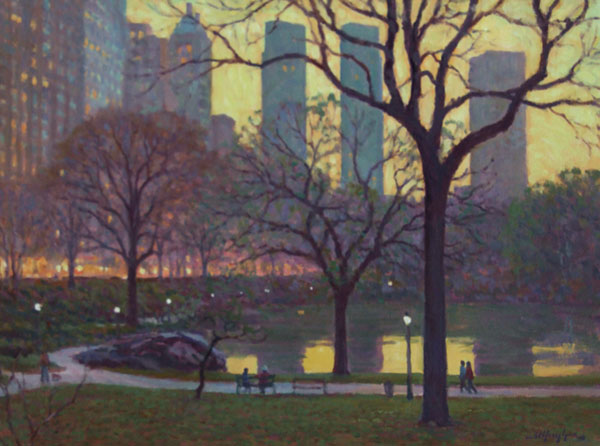 Dusk in Central Park, NYC <br /> 18x24 oil