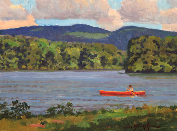 6x8 oil study of clouds and shadows on a favorite lake in Central Virginia.