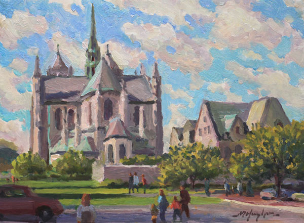 """Sunday Morning"" <br /> Newark Cathedral (NJ) <br /> 6x8"" oil - sold -  #1238"
