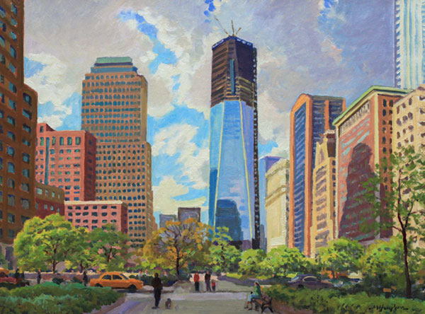 """Resolve, Lower Manhattan"" <br /> 18x24"" oil --available-- #1215"
