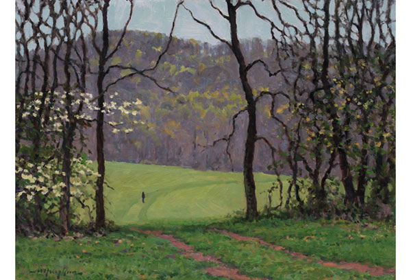 """A Quiet Meadow"" <br /> The Miller School <br /> 12x16"" oil --available-- #1105 <br /> It's a rainy day in spring."