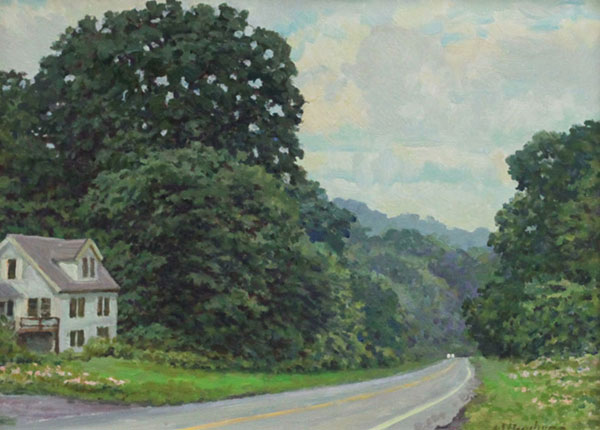 Along Hwy 250 in Albemarle Co, Virginia <br /> 12x16 Oil on panel