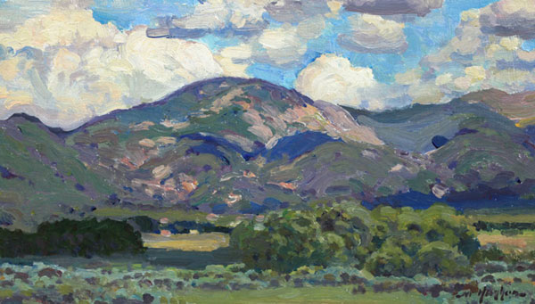 """Summer Clouds, Des Montes"" <br /> Taos Co., New Mexico <br /> 7x12"" oil <br /> A study of the summer sky and landscape near Arroyo Seco, NM"