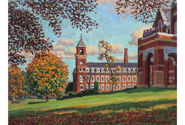 """Autumn at Miller School"" <br /> 12x16"" oil - available - #1510 <br /> A fine place for the young to learn in central Virginia."