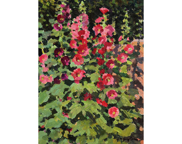 """Marilyn's Hollyhocks"" <br /> 8x6"" oil - available - #1428"