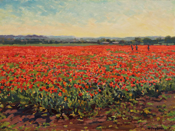 """Texas Poppy Field"" <br /> 12x16"" oil - sold- #1518 <br /> The brilliant red in springtime is ablaze to the horizon at Wild Seed Farms in Fredericksburg."