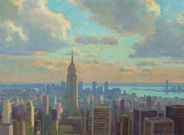 """Summer Sky over Manhattan"" <br /> 12x16"" oil --available-- #819"