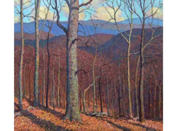 Winter Forest, Virginia <br /> 20x34 oil <br /> Winter colors in Appalachia are strikingly opposite the greens of summer.