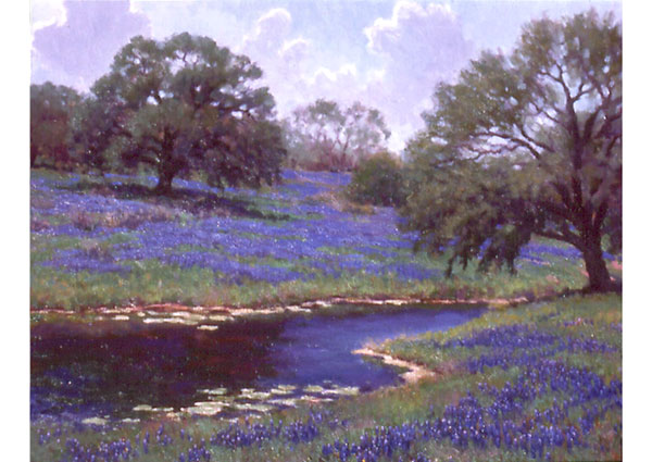 Central Texas Spring <br /> 24x30 oil <br /> The proximity of the Texas Hill Country to my Amarillo studio in my first decade of painting enticed me to join in the celebration of spring wildflowers during those years.  Truly a satisfying sight.