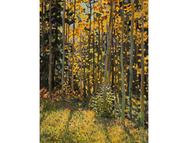 """Aspen Glade, Autumn Light"" <br /> 16x12"" oil --sold-- #1411 <br /> A New Mexico forest view."