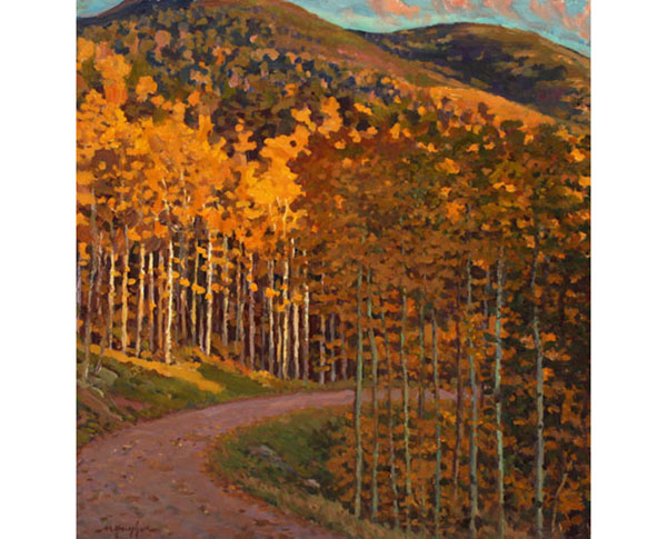 """Aspen in Evening Sunlight"" <br /> 13x12"" oil - available - #1412 <br /> The forest above Santa Fe in late September."