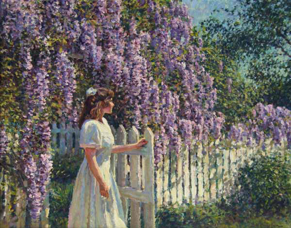 Roxanne, with Wisteria.  <br /> 16x20 oil <br /> The subject (Roxanne) commissioned the painting for her husband.