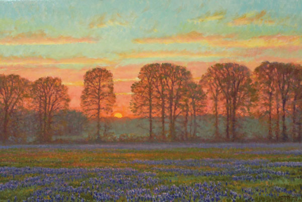 """Dawn"" <br /> 24x36"" oil - sold - #1414 <br /> East Texas, with bluebonnet wildflowers in the foreground."