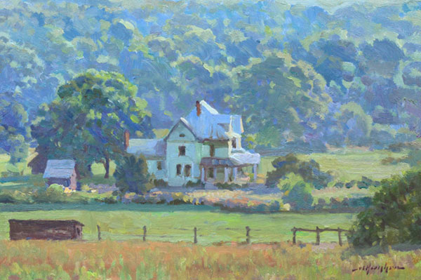 """Sun's Out, Summer Morning"" <br /> Union, WV <br />  8x12 oil --sold-- #1316 <br /> Morning fog had just dissipated as this study was begun."