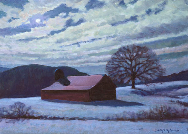 """Winter Night, Bundoran Farm"" <br /> 12x16"" oil --available-- #1326"