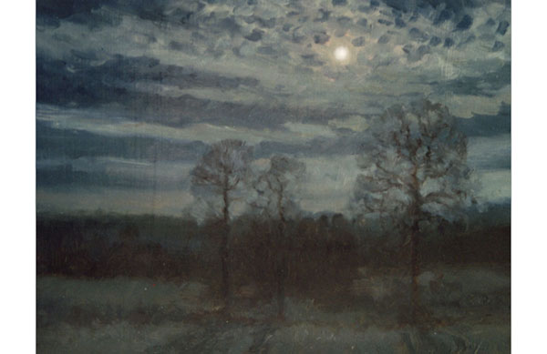 6x8 inch oil, a moonlit oil study done on location, at night, with flashlight and a quick memory recollection of what I just saw when the flashlight is turned off.