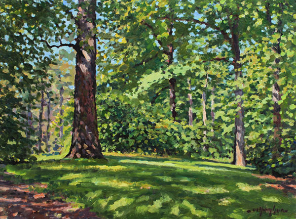 """Spring, the National Arboretum"" <br />9x12"" oil - sold - #1328 <br />This study was begun during a paint-out of the Washington Society of Landscape Painters. My fellow painters later commented that this painting projected happiness."