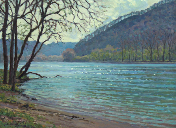 """New River Blue"" <br /> 12x16 oil <br /> Spring arrives on the New River, at dawn, in Southwest Virgnia."