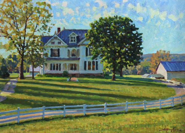"""Shenandoah Farm Home"" <br /> 12x16"" oil --available-- #1343"