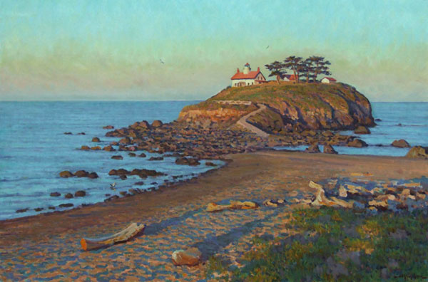 """Crescent City Lighthouse"" <br /> (The Redwood Coast of California) <br /> 24X36"" oil - available - #912 <br />  The northernmost Lighthouse in California, in dawn colors, mid-summer. The towering distant Redwoods in the mountains can be seen looking back to the east from here, opposite this Pacific view. Several large rivers that empty into the sea nearby provide a plentiful supply of driftwood, shown here."