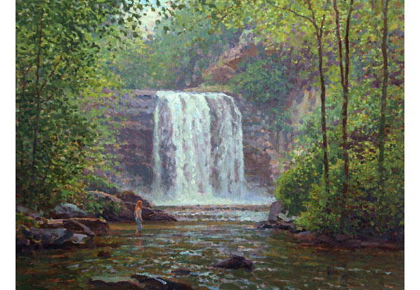 Waterfall near Brevard, NC <br />  18x24 oil on canvas