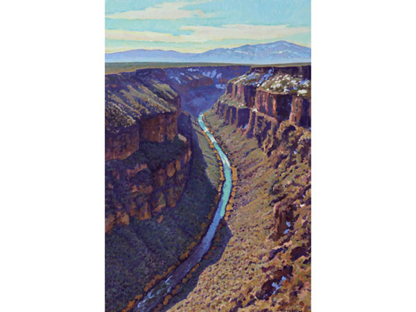 """The Rio Grande Carves"" <br /> Taos County, NM <br /> 36x24"" oil --available-- #1339"