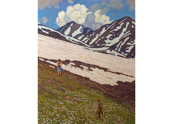 """Ascent"" <br /> Hiking in the Colorado Rockies <br /> 30x24"" oil --available-- #1341"