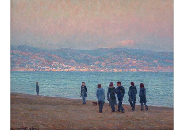 """Friendship on the Spanish Coast"" <br /> Torremolinos, Spain <br /> 16x20 oil"