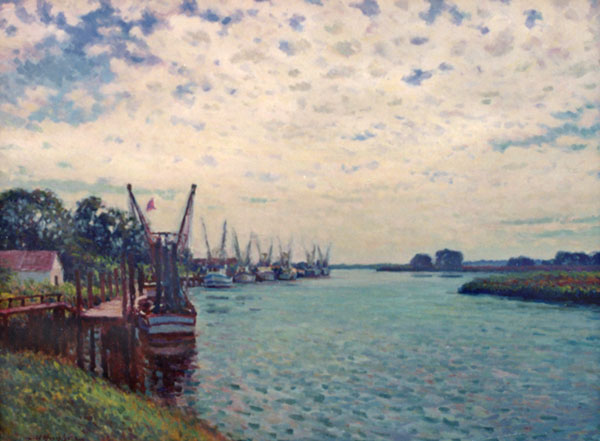 """""""Morning on the Altamaha"""" <br /> Darien, GA <br /> 30x40"""" oil <br /> """"Buttermilk skies"""" and the diffused light they cast on the landscape fascinate me."""