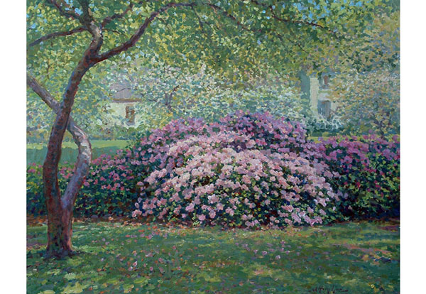 A Dallas, Tx park subject, azalea in springtime.  <br /> 24x30 oil on canvas