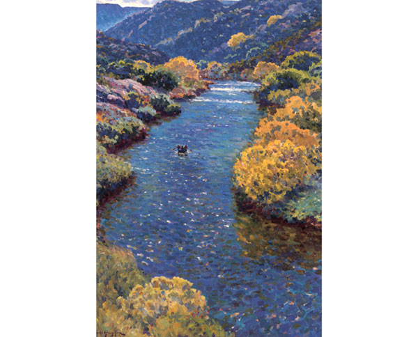 """""""Tour in Autumn"""" <br /> The Rio Grande River in Northern New Mexico <br /> 36x24 oil"""