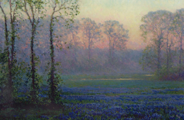 An east Texas spring morning in April (with bluebonnet flowers below).  <br /> 24x36 oil on canvas
