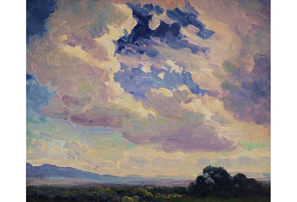"Summer Sky <br /> 11x11"" oil <br /> Taos County, New Mexico"